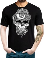 T Shirts (Men's) - Labartry Graphic Print Men's Round Neck Black T-Shirt