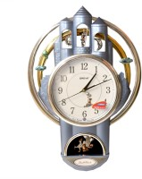 ajanta oreva Analog Wall Clock(Grey, golden, With Glass)
