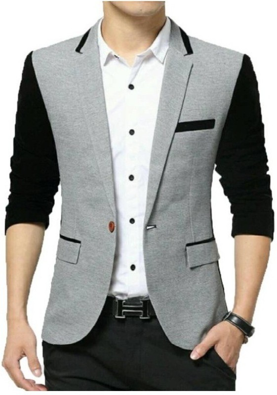 Beetle Solid Single Breasted Party Men's Blazer(Grey)