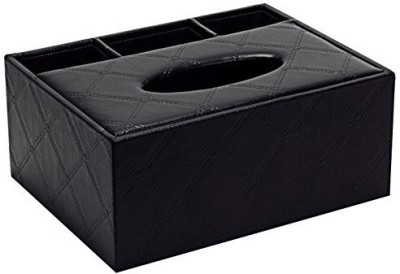 7Trees 4 Compartments Leather Premium Leather Tissue Paper Holder Dispenser Box with Remote Stand(Black)