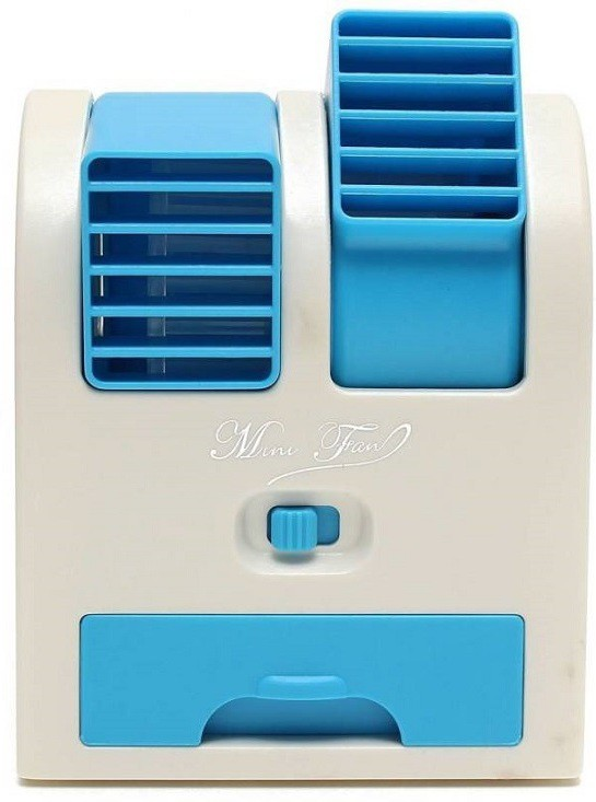 Active Dual Bladeless Mini Air Conditioner Cooling Fragrance Fan 4 Blade Table Fan(Blue)