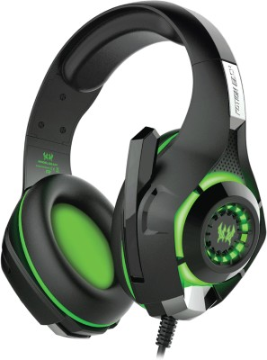 Kotion Each GS420 7 Color LED and Audio Splitter Wired Headset With Mic(Black/Green)