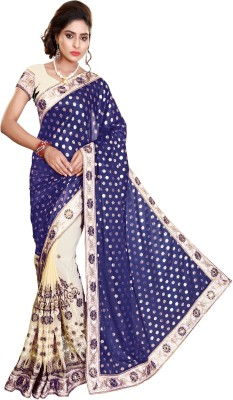 Pragati Fashion Hab Embroidered Bollywood Silk, Georgette Saree(Blue)