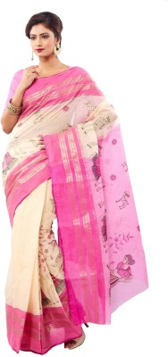 Rudrakshhh Embroidered Tant Handloom Cotton Saree(Pink) at flipkart
