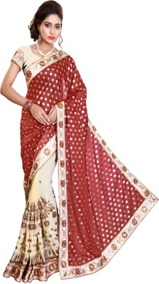 Pragati Fashion Hab Embroidered Bollywood Silk, Georgette Saree(Brown)