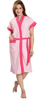 FeelBlue Pink Free Size Bath Robe(Bath Robe, For: Women, Pink)