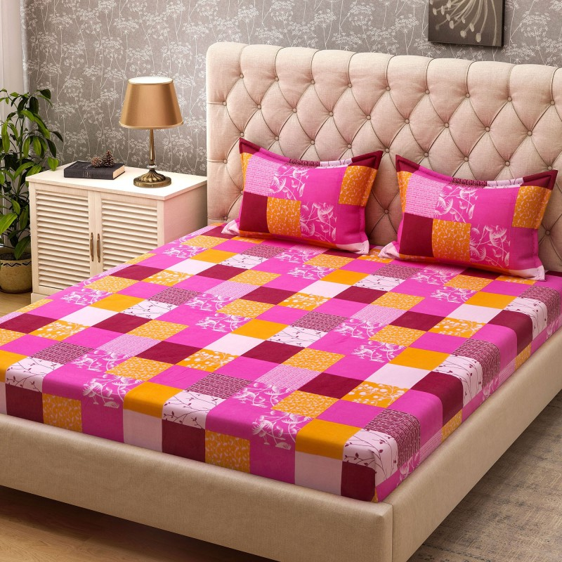 Bombay Dyeing Cotton Geometric Double Bedsheet(1 Double Bedsheet + 2...