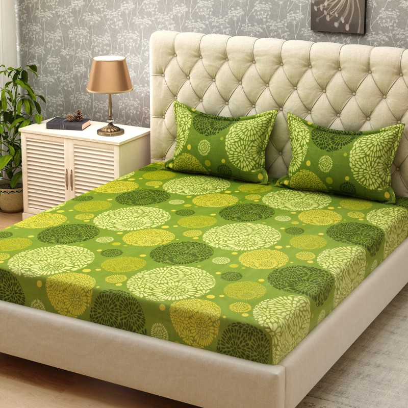 Bombay Dyeing Cotton Printed Double Bedsheet(1 Double Bedsheet, 2 Pillow...