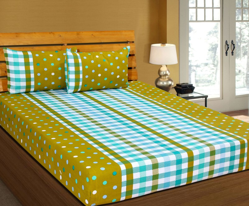 Zesture Cotton Polka Double Bedsheet(1 Double Bedsheet with 2 Pillow...
