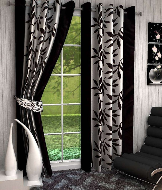 Optimistic Home Furnishing Polyester Black Floral Eyelet Door Curtain(210 cm...