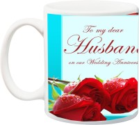 iZor Gift for hubby;To My Dear Husband An our Wedding Annivarsery Rose HD Printed Ceramic Mug