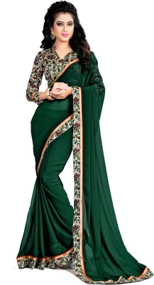 Indianbeauty Solid Bollywood Chiffon Saree(Dark Green) at flipkart