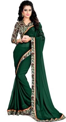 Indianbeauty Solid Bollywood Chiffon Saree(Dark Green) at flipkart