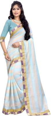 BAPS Striped Fashion Cotton Linen Blend Saree(Blue)