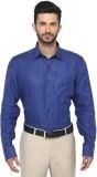 JadeBlue Men's Checkered Formal Linen Bl...