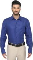 Jadeblue Formal Shirts (Men's) - JadeBlue Men's Checkered Formal Linen Blue Shirt