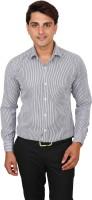 Real Value Formal Shirts (Men's) - Real Value Men's Striped Formal Black Shirt