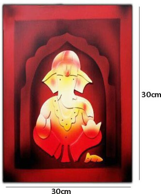 3p kart lord Ganesha Showpiece - 30 cm(Wooden, Multicolor)
