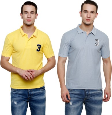 100 Tees Solid Mens Polo Neck Multicolor T-Shirt(Pack of 2)