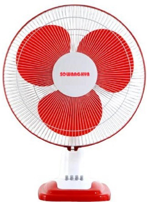 View Sowbaghya 16 inc Table Fan 3 Blade Table Fan(Red) Home Appliances Price Online(sowbaghya)