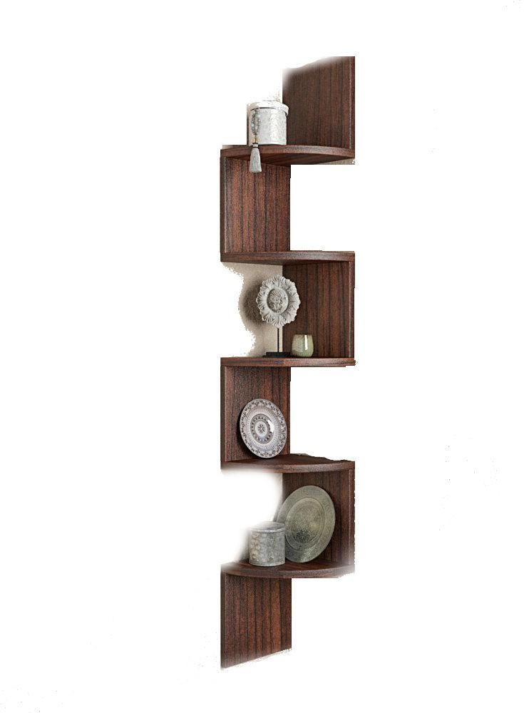View Shrih Stylish Zigzag Corner MDF Wall Shelf(Number of Shelves - 5, Brown) Furniture (Shrih)
