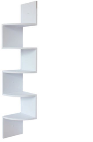 View Shrih New Fashion Zigzag Corner Mount MDF Wall Shelf(Number of Shelves - 5, White) Furniture (Shrih)