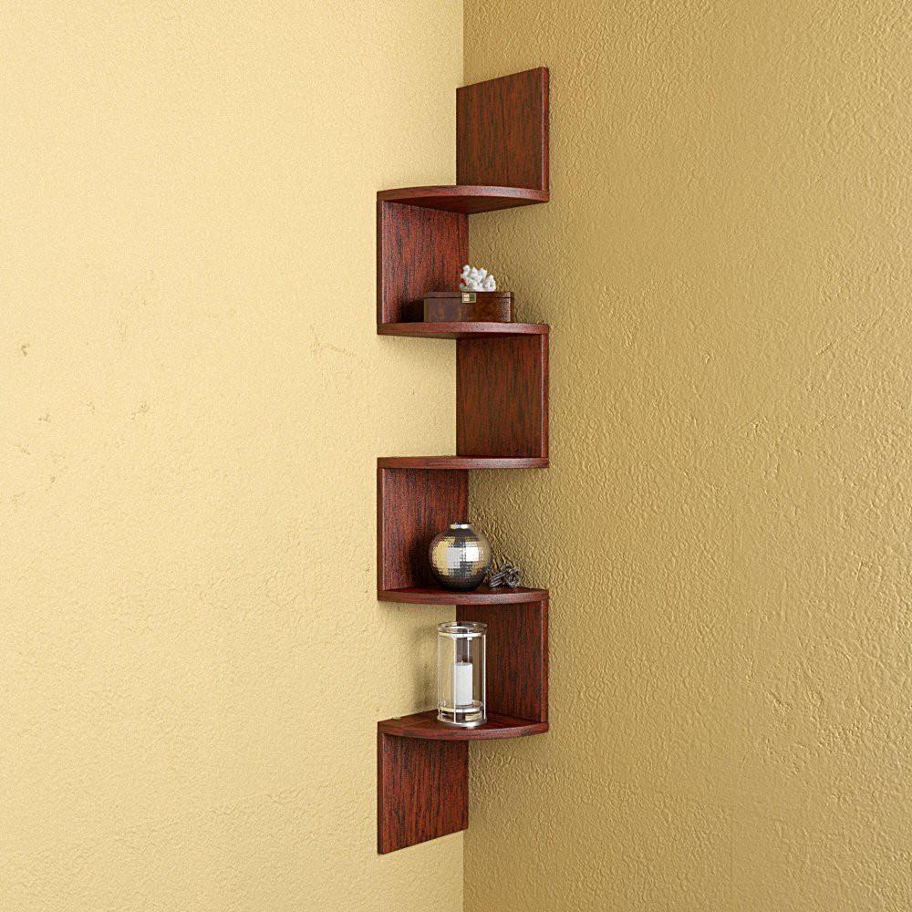 View Shrih Zigzag Shape Corner MDF Wall Shelf(Number of Shelves - 5, Beige) Furniture (Shrih)