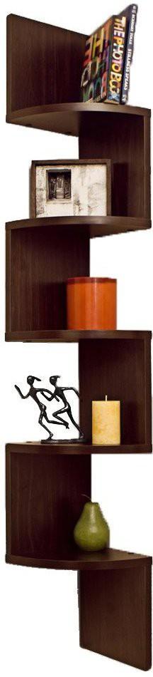 View Shrih Matte Finish Zigzag Corner MDF Wall Shelf(Number of Shelves - 5, Brown) Furniture (Shrih)