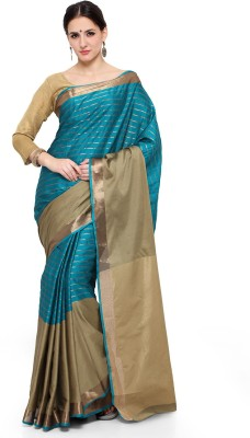 Style U Self Design, Woven Banarasi Handloom Polycotton Saree(Dark Green) at flipkart