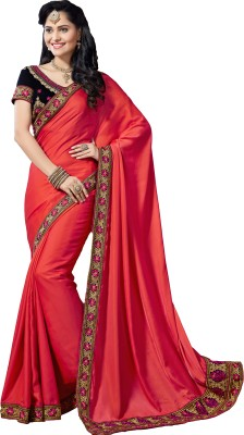 M.S.Retail Embroidered Bollywood Silk, Crepe Saree(Pink) at flipkart