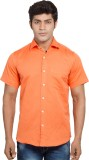 Nauhwar Men's Solid Casual Orange Shirt