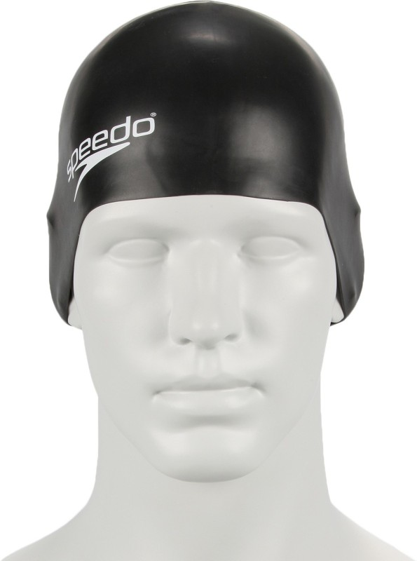 Speedo Unisex-Junior Plain Moulded Silicone Swimming Cap(Black, Pack of 1)