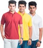 Akaira Solid Men's Polo Neck Red, Yellow...