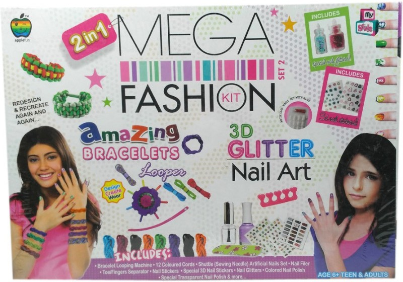 HALO NATION Mega Fashion Kit for Girls - Complete Nail art , Bracelet Design & more - Applefun