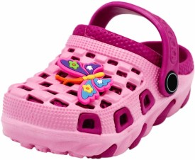 Yellow Bee Girls Sling Back Clogs(Pink)