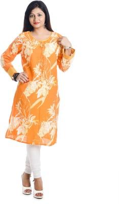 Aatisha Creations Casual Floral Print Women's Kurti(Orange) at flipkart