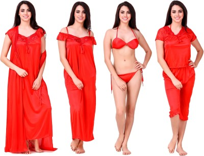 Freely Women's Nighty with Robe(Red) at flipkart