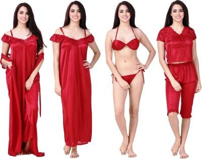 Freely Women's Nighty with Robe(Maroon) at flipkart