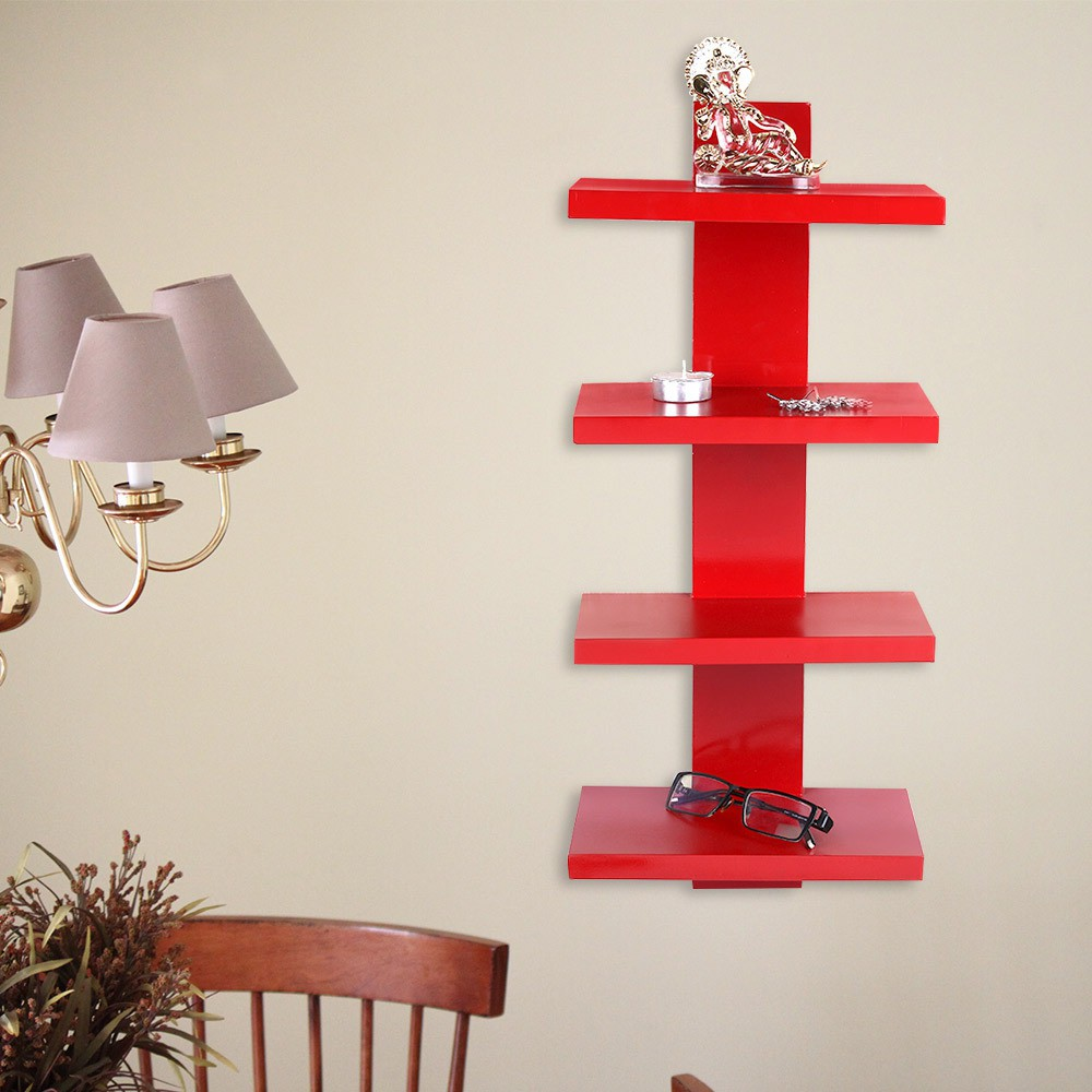 View MPC MDF WOOD WALL MOUNTED T DESIGNER WALL RACK Wooden Wall Shelf(Number of Shelves - 4, Red) Furniture (MPC)