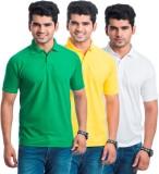 Akaira Solid Men's Polo Neck Green, Yell...