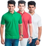 Akaira Solid Men's Polo Neck Green, Red,...