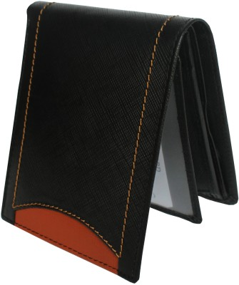 Tamanna Men Black, Tan Genuine Leather Wallet(6 Card Slots)