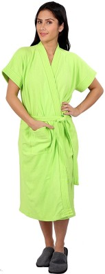 FeelBlue Parrot Green Free Size Bath Robe(Bath Robe, For: Women, Parrot Green)