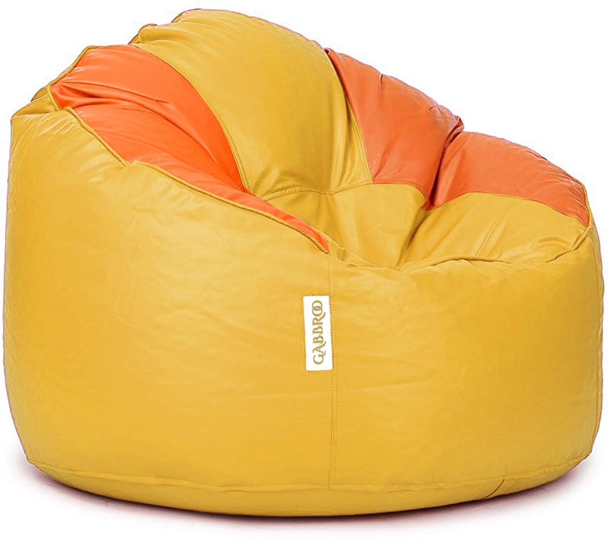 View Gabbroo XXXL Lounger Bean Bag Cover(Yellow, Orange) Furniture