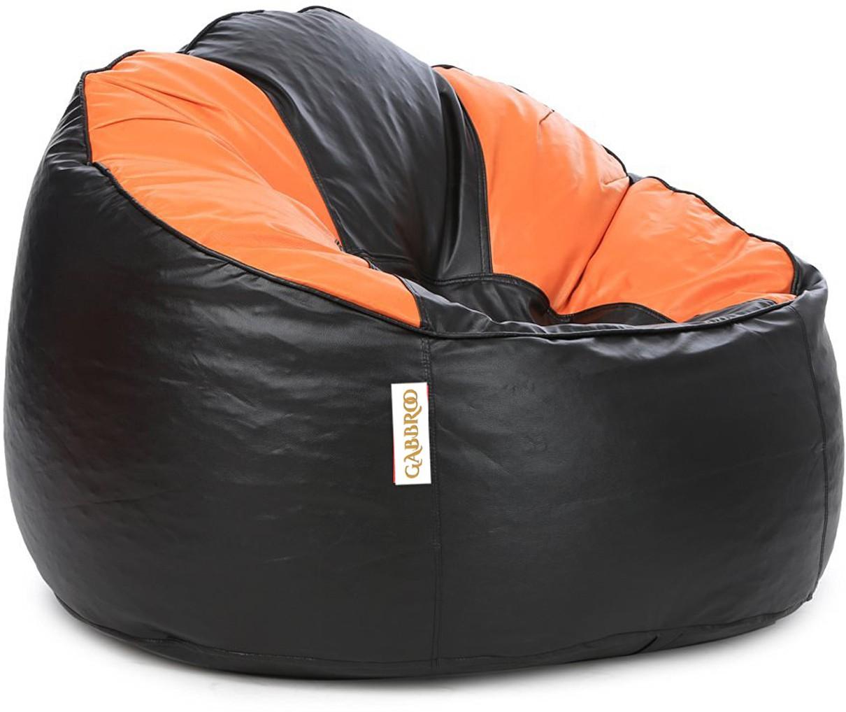 View Gabbroo XXXL Lounger Bean Bag Cover(Orange, Black) Furniture