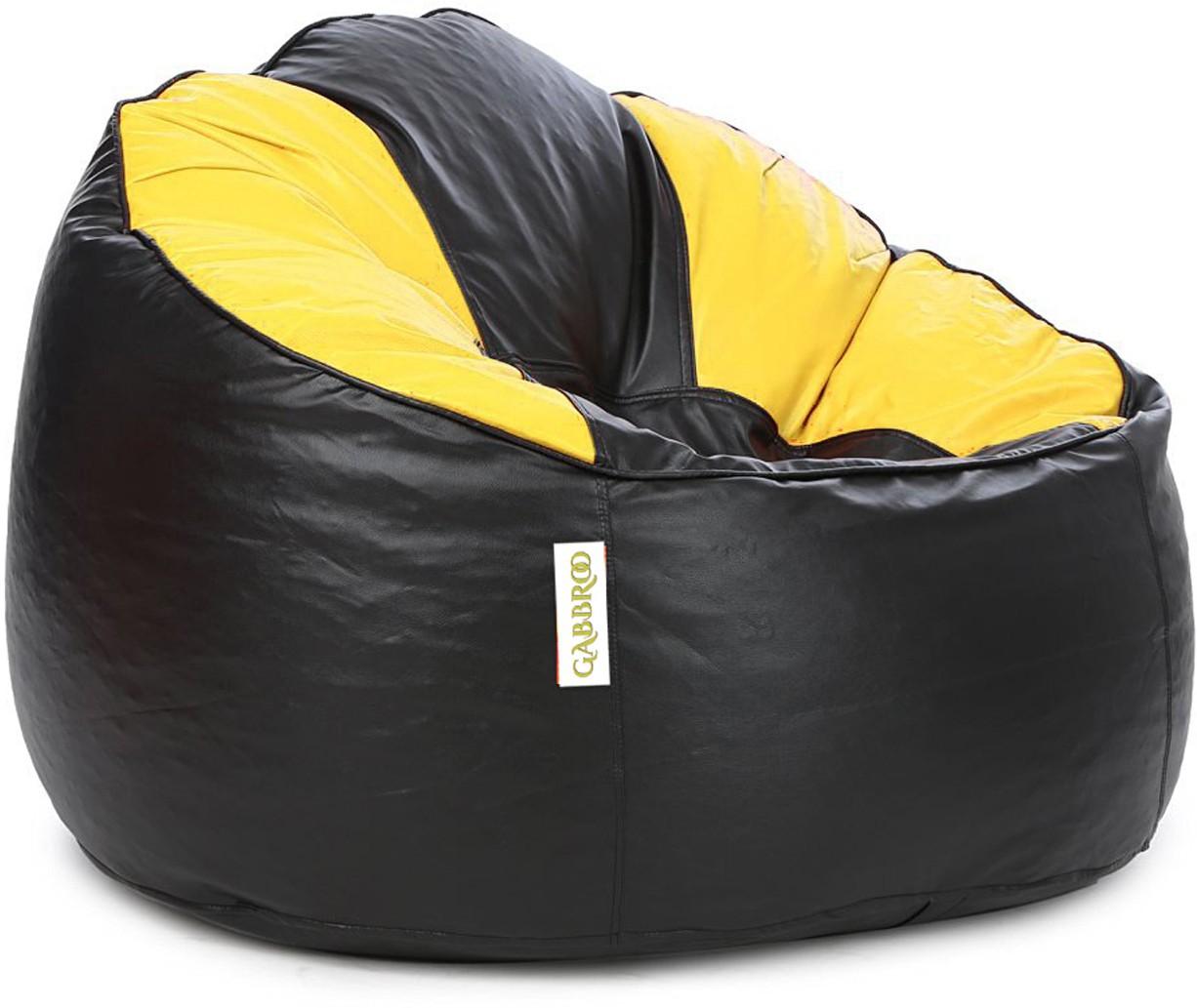View Gabbroo XXXL Lounger Bean Bag Cover(Yellow, Black) Furniture