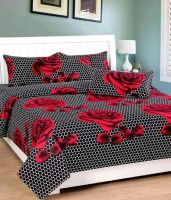 Zain Cotton Floral Queen sized Double Bedsheet(1 BED SHEET, 2 PILLOW COVERS, RED & BLACK)
