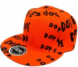Friendskart Orange Colour Hip Hop Style Cap Printed Dope In Black Colour For Boys And Girls Cap