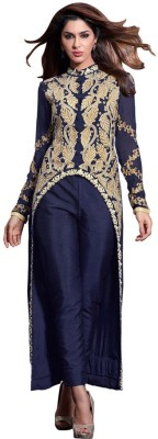Saara Georgette Embroidered Semi-stitched Salwar Suit Dupatta Material at flipkart