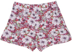 United Colors of Benetton Short For Girls Casual Printed Cotton Viscose Blend(Multicolor, Pack of 1)